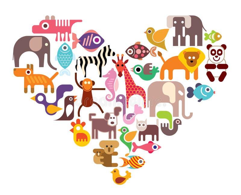 Сердце с животными значками вектора иллюстрация штока