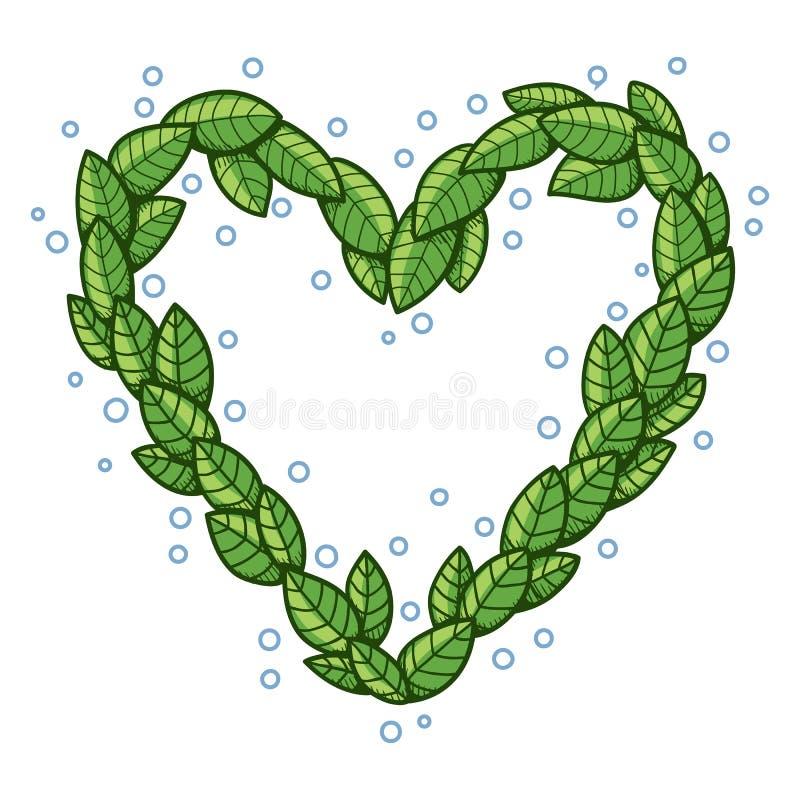 Сердце с листьями иллюстрация вектора
