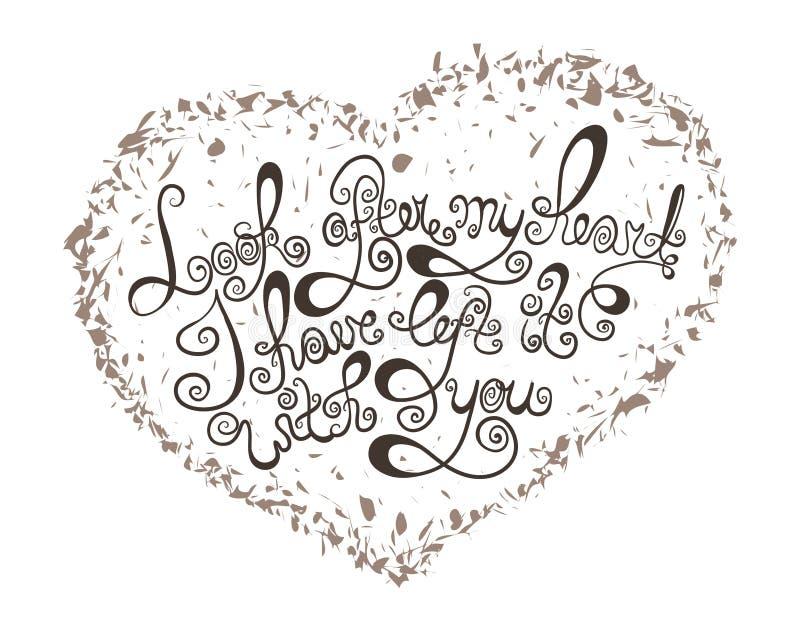 Сердце с нарисованным рукой плакатом оформления Винтажная романтичная цитата для карточки дня валентинок или сохраняет карточку д бесплатная иллюстрация