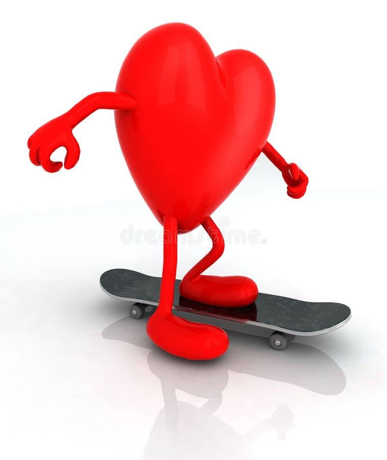 Сердце с оружиями и ногами на скейтборде бесплатная иллюстрация