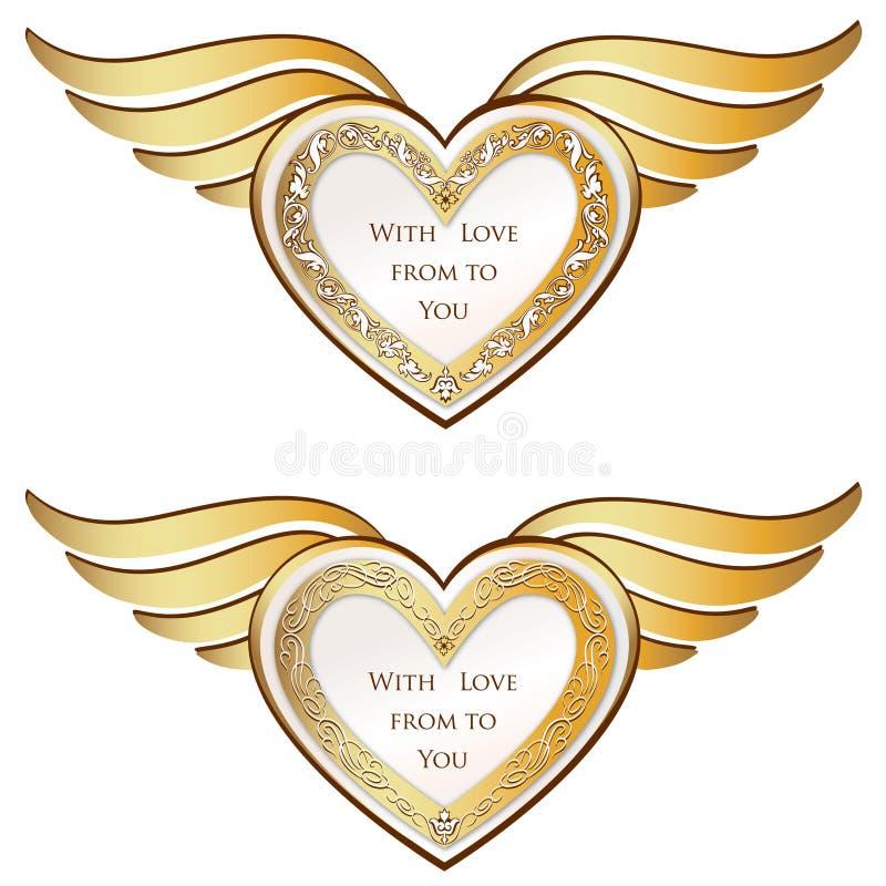 Сердце с собранием крылов. Золотая праздничная рамка иллюстрация штока