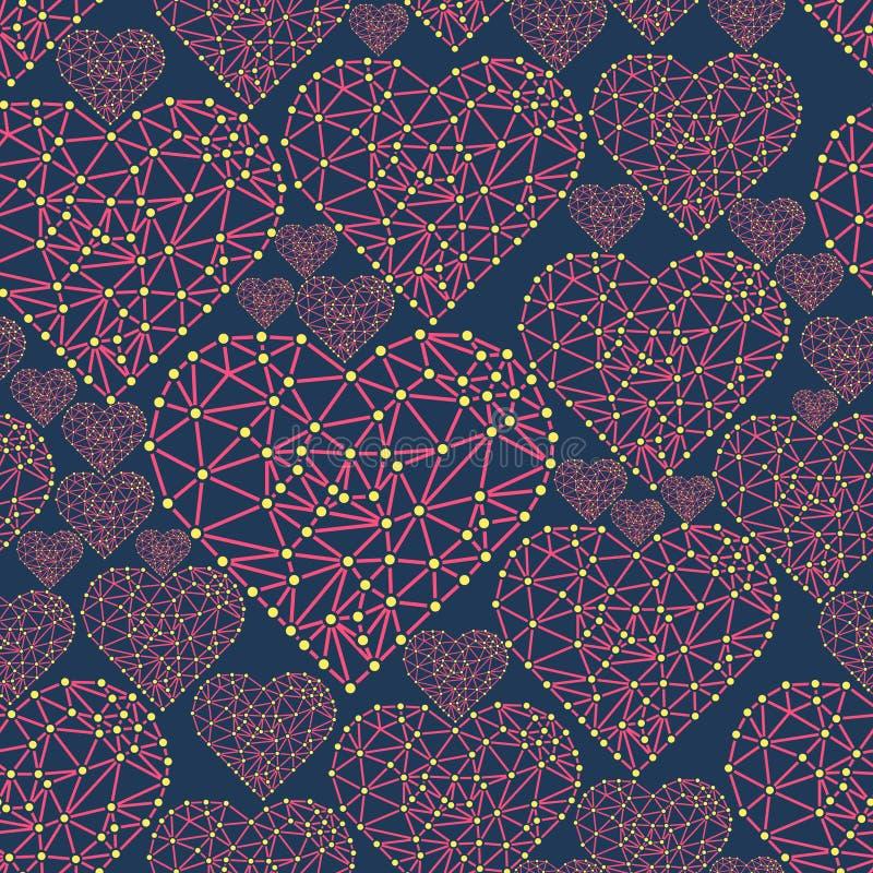 Сердце с соединенными линиями и точками Элемент сетки Wireframe полигональный Валентайн иллюстрация штока