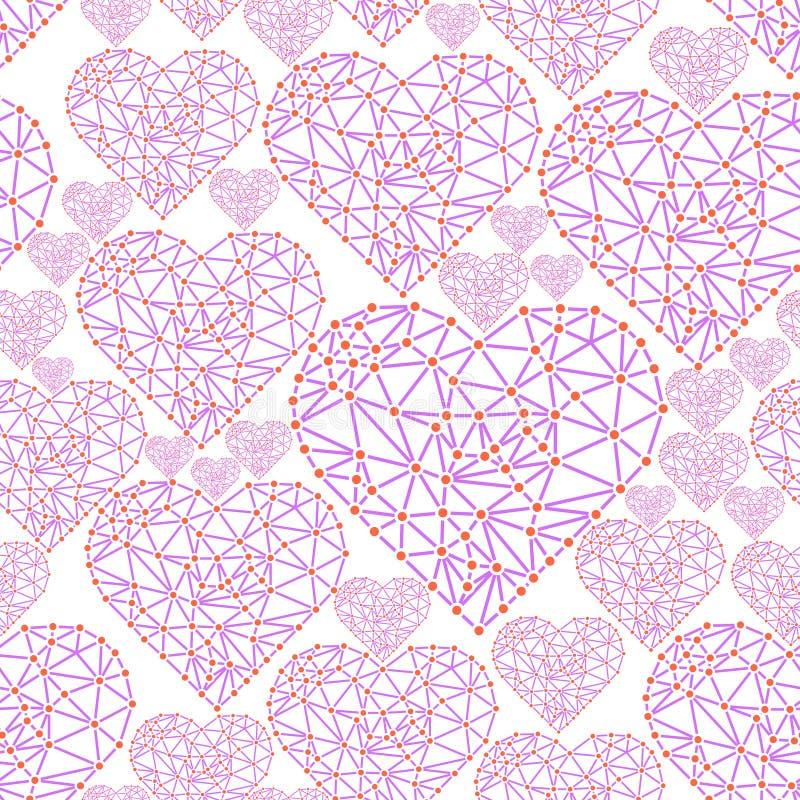Сердце с соединенными линиями и точками Элемент сетки Wireframe полигональный Валентайн бесплатная иллюстрация