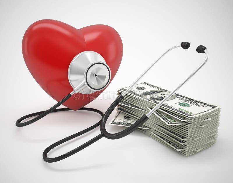 Сердце с стетоскопом и деньгами иллюстрация вектора
