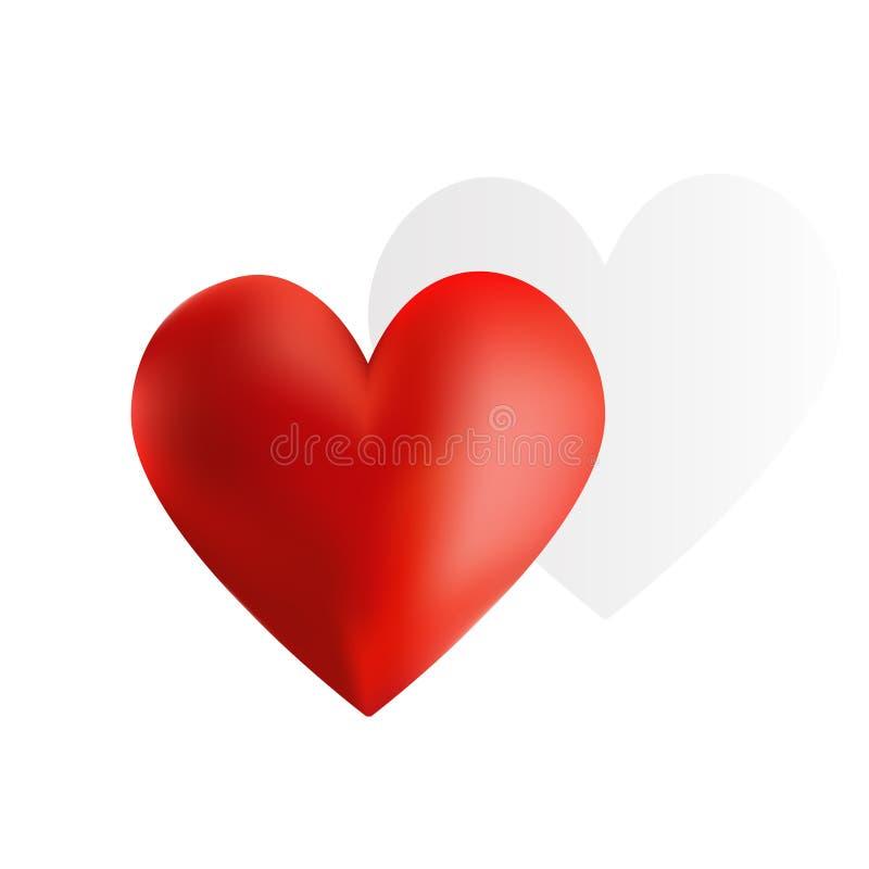 Сердце с тенью иллюстрация штока