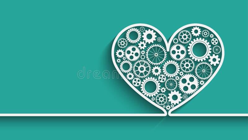 Сердце с шестернями бесплатная иллюстрация