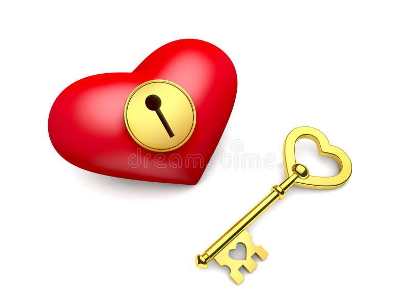 Сердце с keyhole и золотым ключом иллюстрация вектора