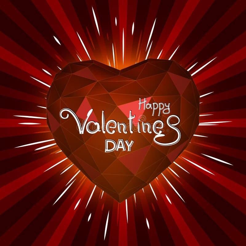 Сердце треугольника красное на день валентинок Абстрактный ба красного цвета starburst иллюстрация штока
