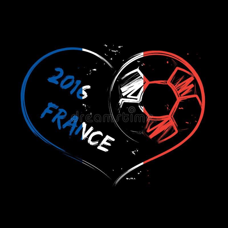 Сердце 2016 футбола Франции иллюстрация вектора