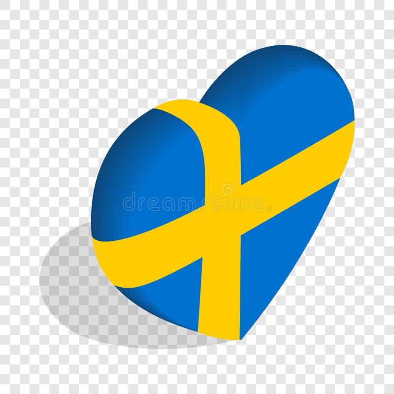 Сердце флага Швеции красит равновеликий значок иллюстрация вектора