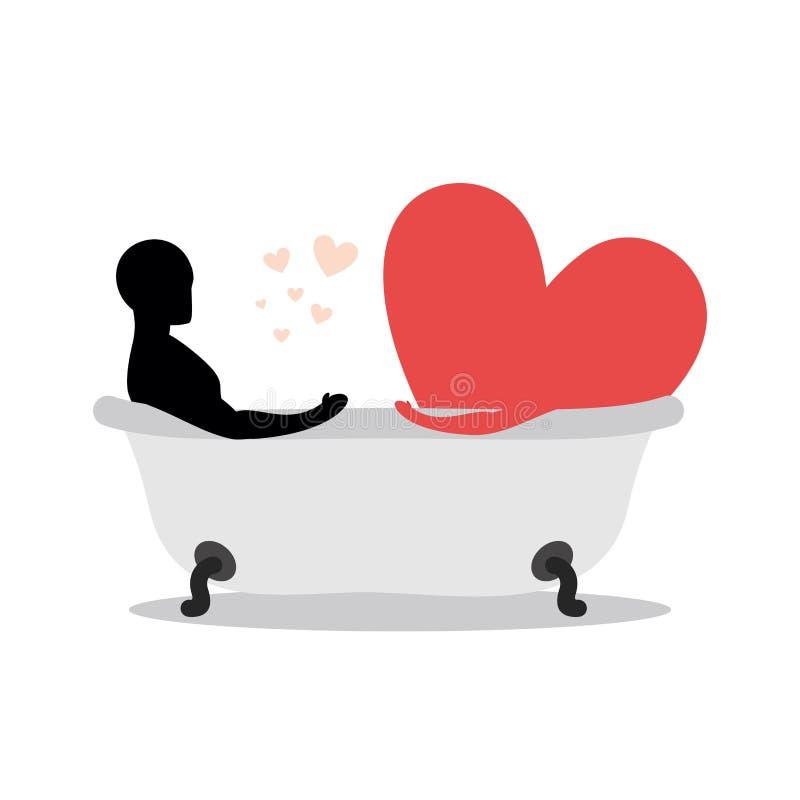 Сердце человека в ванне Человек и символ влюбленности принимают ванну J иллюстрация штока