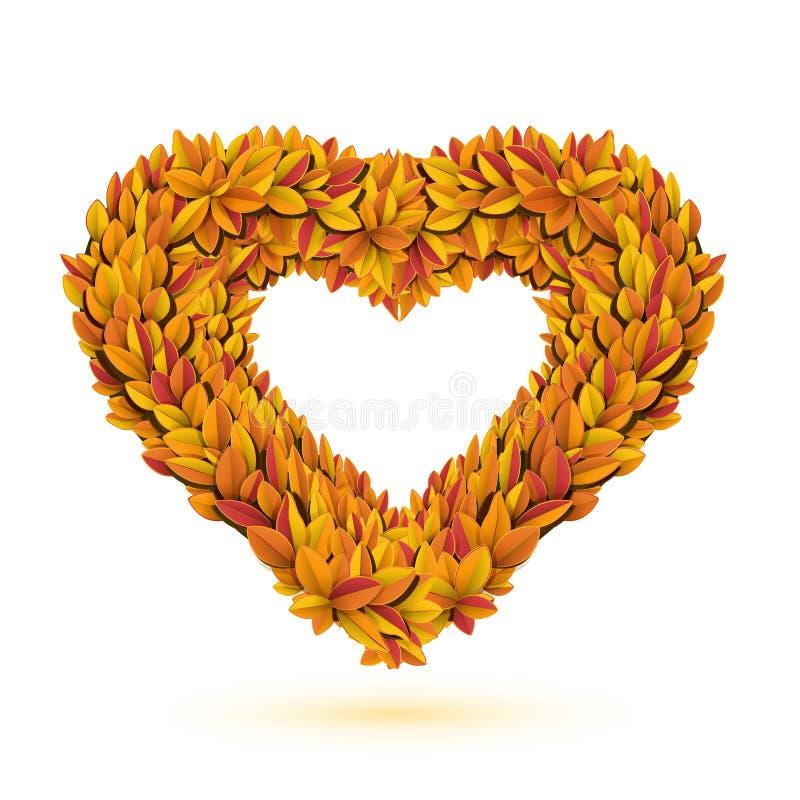 Сердце ярких листьев падения иллюстрация вектора