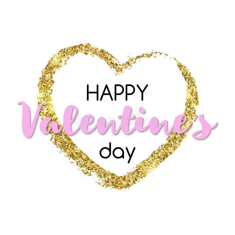 Сердце яркого блеска золота с счастливым текстом дня ` s валентинки Дизайн для бесплатная иллюстрация