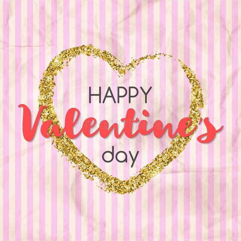 Сердце яркого блеска золота с счастливым текстом дня ` s валентинки Конструкция иллюстрация штока