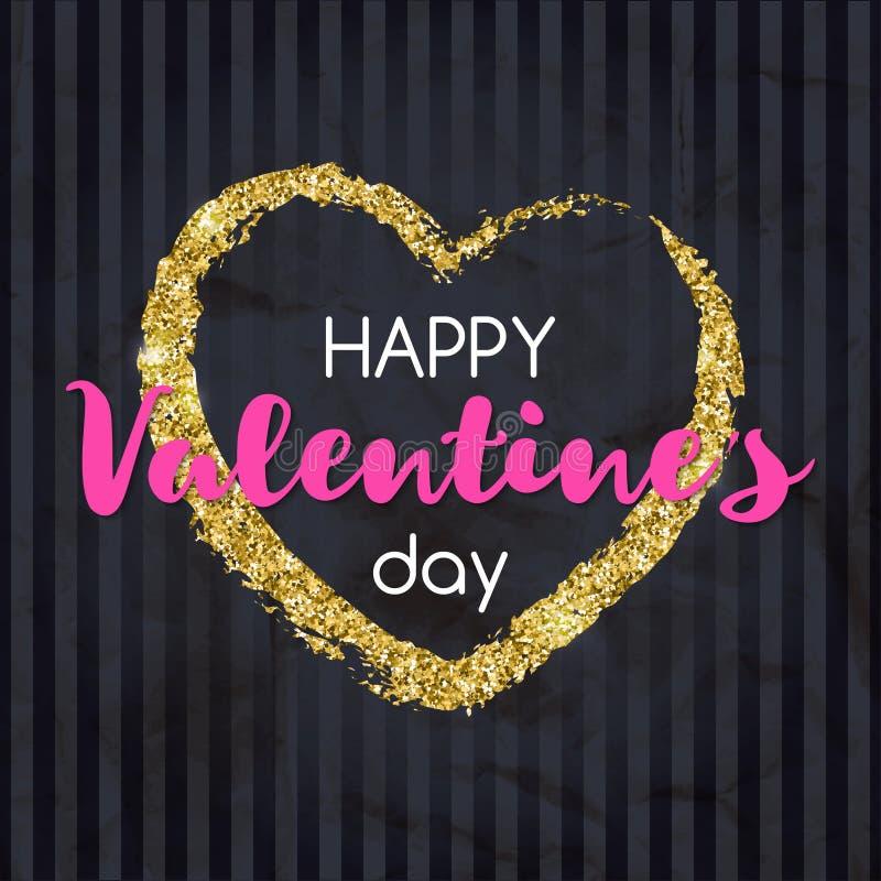 Сердце яркого блеска золота с счастливым текстом дня ` s валентинки Дизайн для иллюстрация штока