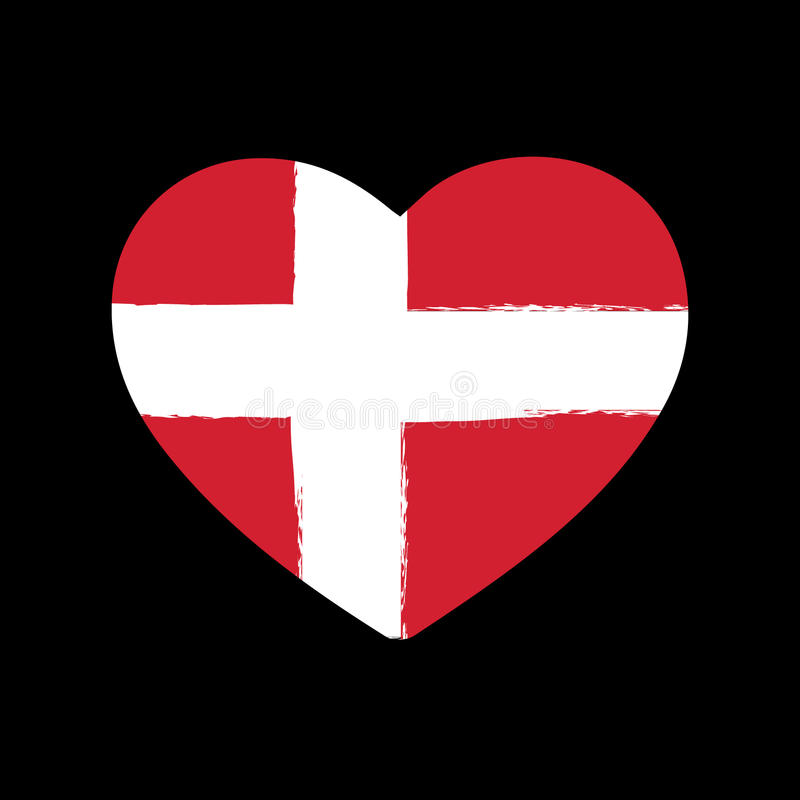 Сердце Brushstroke флага Дании бесплатная иллюстрация