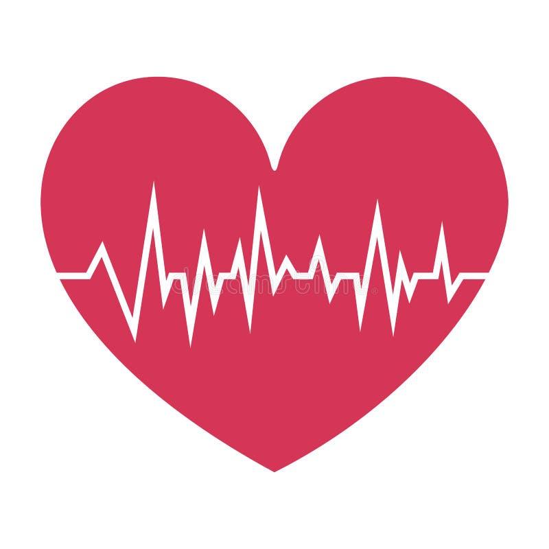 сердце fushia с признаками жизни иллюстрация вектора