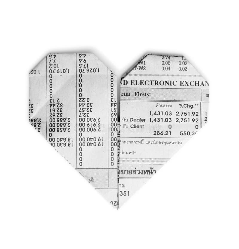 Сердце Origami от рециркулирует газету стоковое фото rf