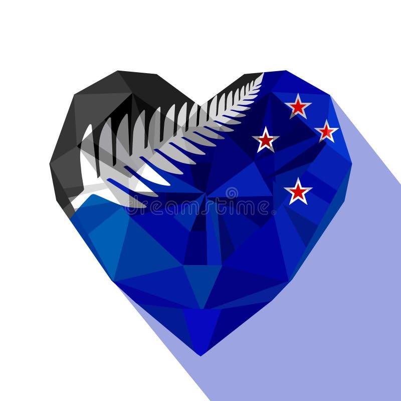 Сердце ` s Новой Зеландии ювелирных изделий Crysta с флагом Новой Зеландии, серебряного папоротника иллюстрация вектора