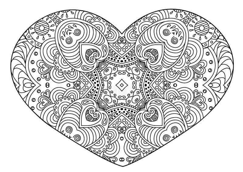 Сердце Zentangle черно-белое декоративное бесплатная иллюстрация