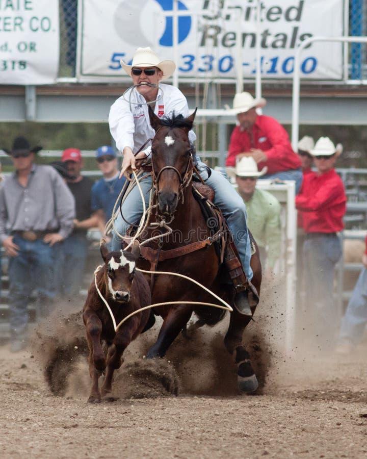 сестры 2011 родео prca Орегона управляют wrestling стоковое изображение