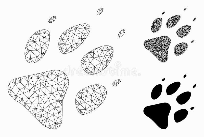 Сетевая модель с векторным сетевым изображением Wolf Footprint Vector Mesh и мозаичный значок треугольника иллюстрация штока