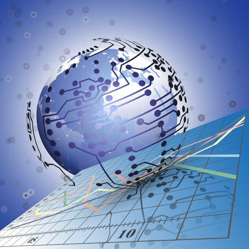 Сетевые подключения глобуса на предпосылке  бесплатная иллюстрация
