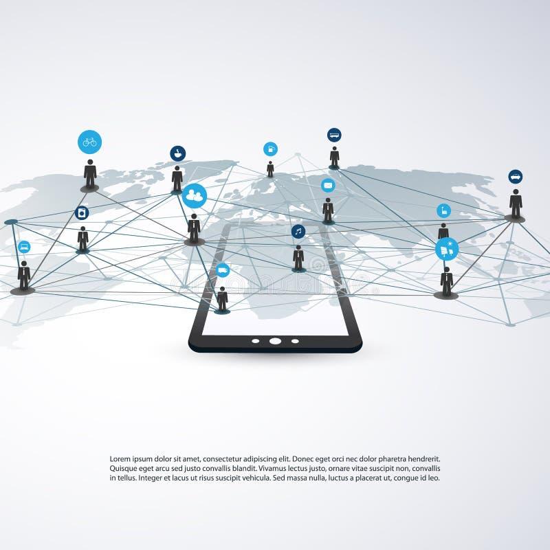Сети - деловые связи - социальный дизайн концепции средств массовой информации бесплатная иллюстрация
