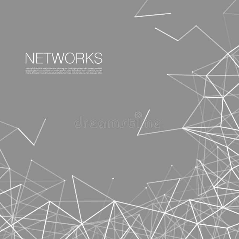 Сети, концепция соединений - черно-белая сетка сети иллюстрация вектора