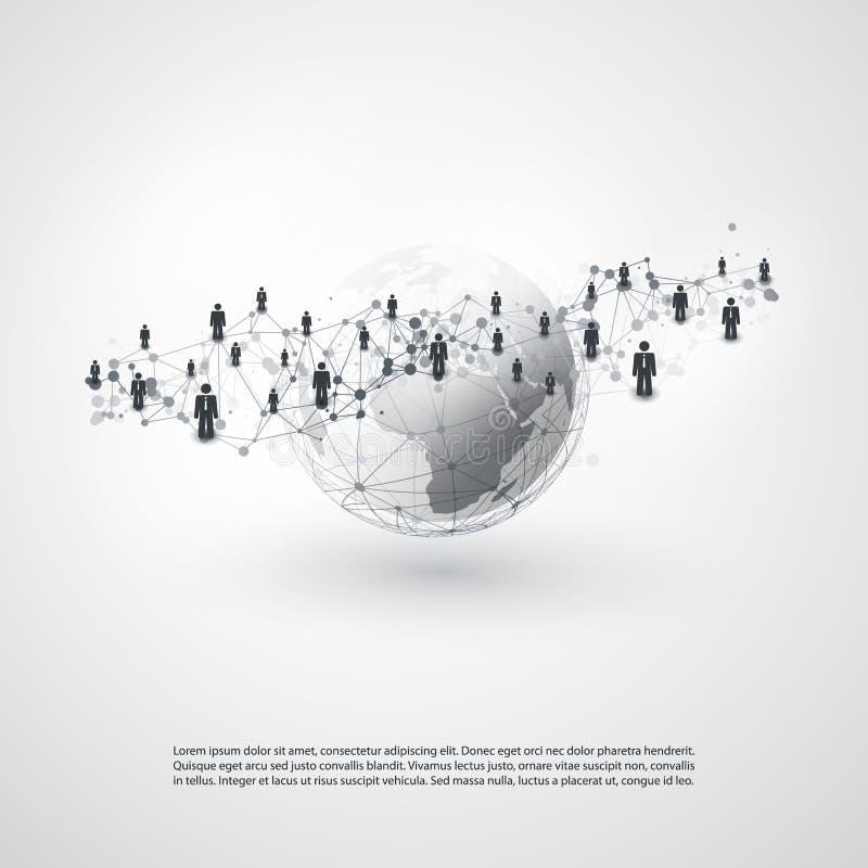 Сети - соединения глобального бизнеса - социальный дизайн концепции средств массовой информации иллюстрация вектора