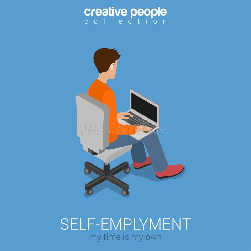 сети 3d работы Само-занятости концепция независимой плоской равновеликая бесплатная иллюстрация