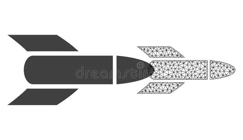 Сетка Ракета сети вектора и плоский значок иллюстрация вектора