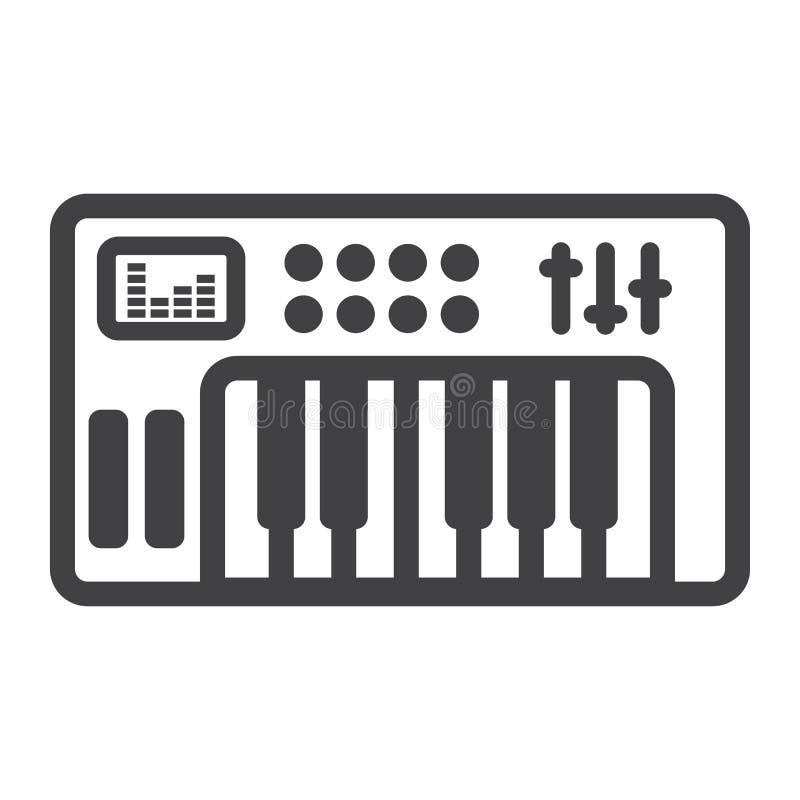 Сетноая-аналогов линия значок, музыка и аппаратура синтезатора иллюстрация вектора