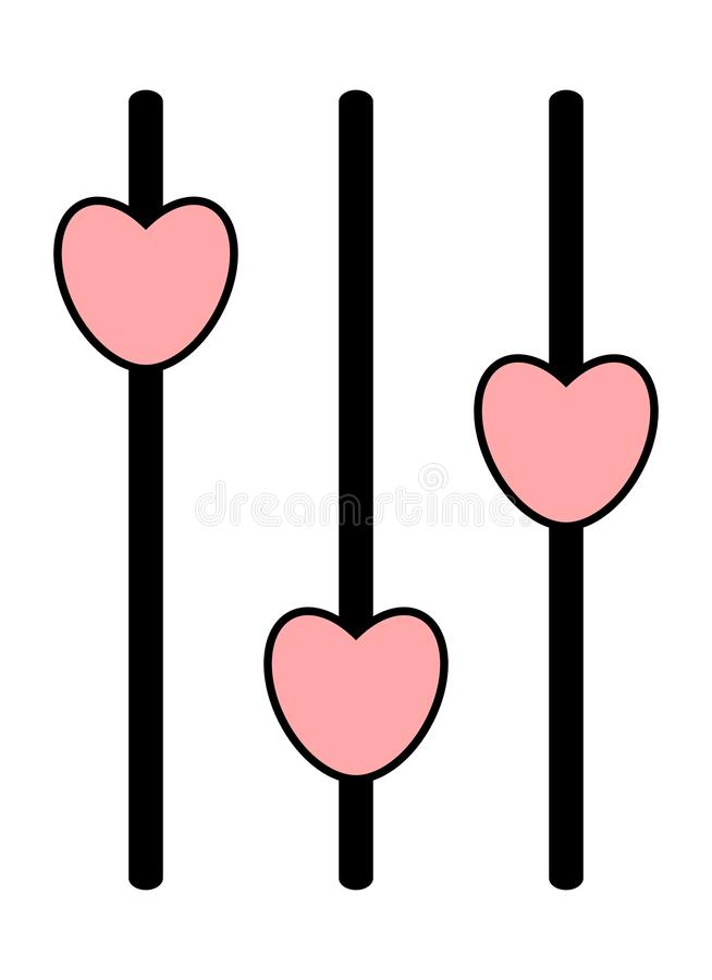 Сетноой-аналогов значок ядрового смесителя Пульт управления с розовыми слайдерами сердца иллюстрация вектора
