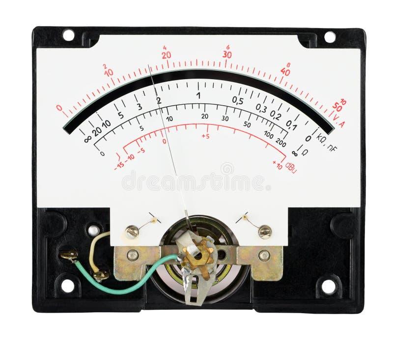 Сетноой-аналогов масштаб вольтамперомметра инструмента измерения с указателем стоковое изображение