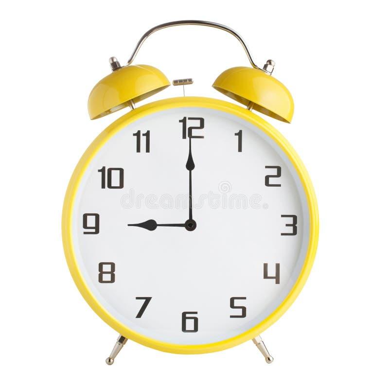 Сетноой-аналогов показ будильника 9 часов, 9pm или 9 часов утра изолированный на белой предпосылке стоковые изображения