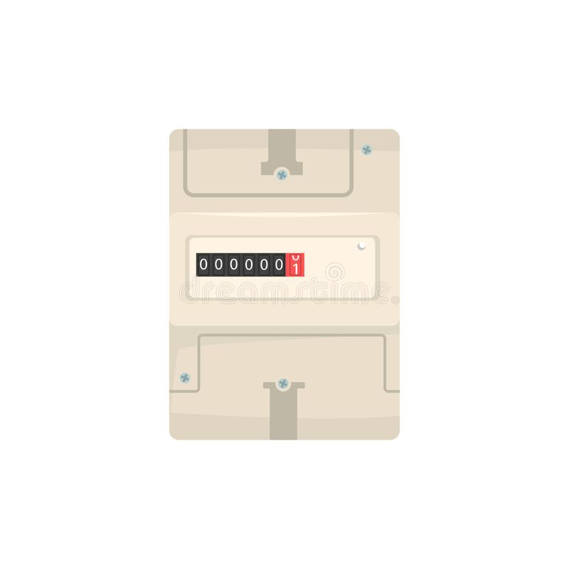 Сетноой-аналогов электрический счетчик, иллюстрация вектора измеряющего прибора домочадца бесплатная иллюстрация