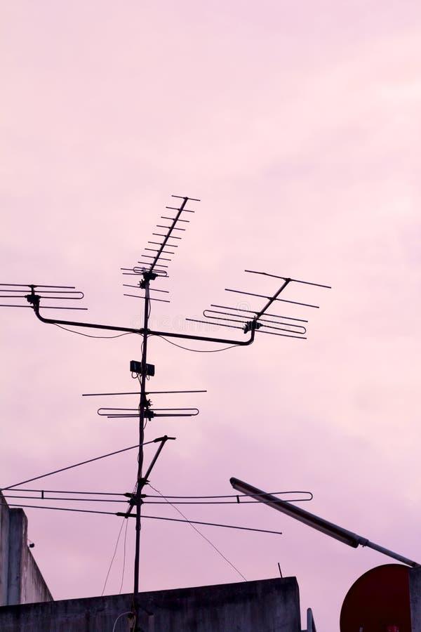 Сетноой-аналогов силуэт антенны ТВ в более низком угле стоковые фотографии rf