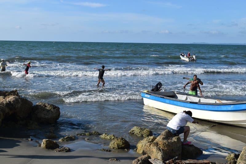 Сетчатая рыбная ловля в Cartagena, Колумбии стоковая фотография rf