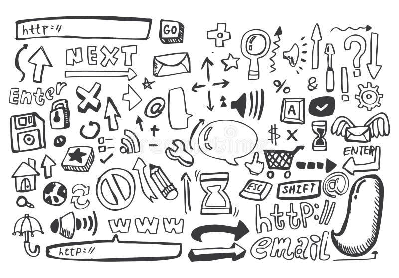 сеть вектора иконы руки притяжки иллюстрация вектора