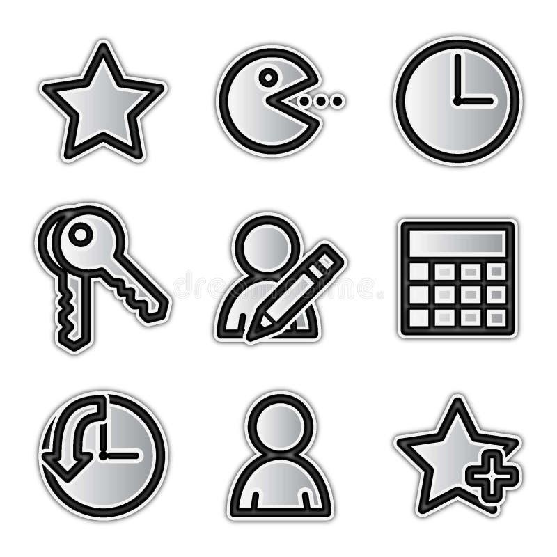 сеть вектора икон фаворитов контура серебряная бесплатная иллюстрация