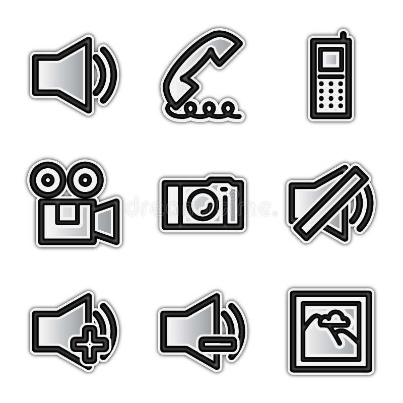сеть вектора средств икон контура серебряная бесплатная иллюстрация