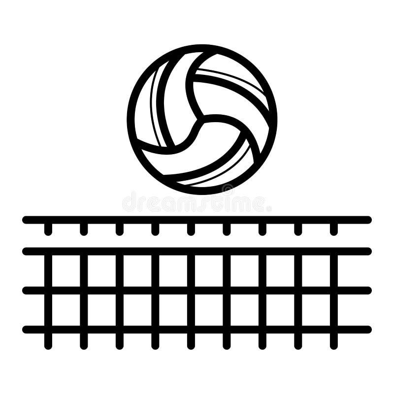 Сеть волейбола со значком шарика Спорт пляжа иллюстрация штока