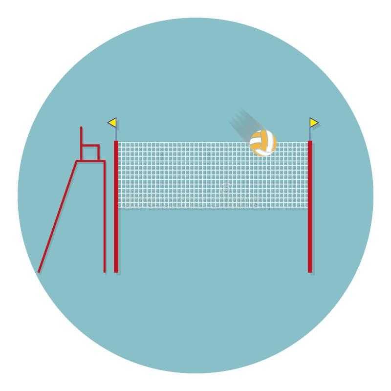 Сеть волейбола с значком знака шарика Символ спорта пляжа Классический плоский значок покрашенные круги вектор иллюстрация вектора