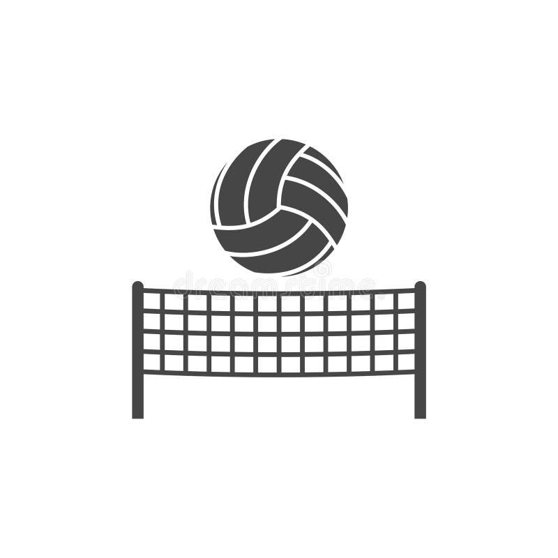 Сеть волейбола с значком знака шарика иллюстрация штока