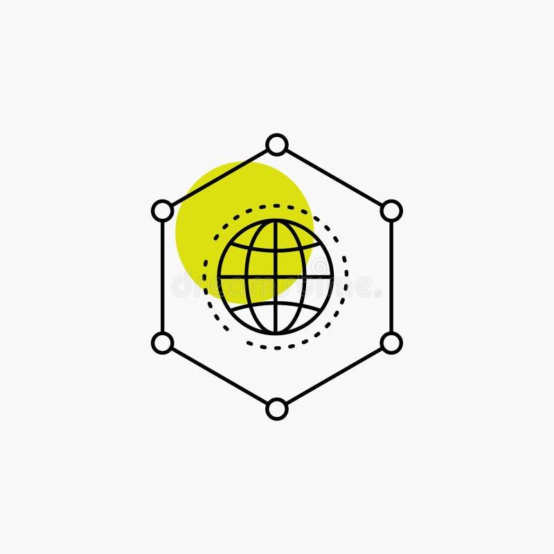 Сеть, глобальная, данные, соединение, значок бизнес-линии иллюстрация штока