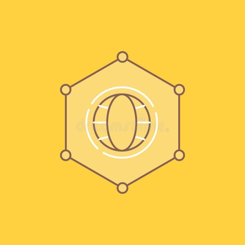 Сеть, глобальная, данные, соединение, линия дела плоская заполнила значок Красивая кнопка логотипа над желтой предпосылкой для UI иллюстрация штока
