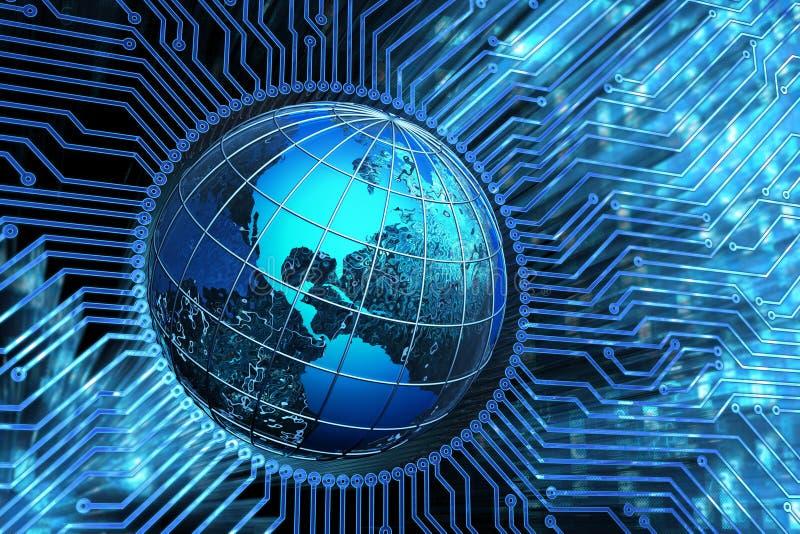 Сеть глобальной связи, соединения микросхемы, компьутерные науки и электронная концепция технологии бесплатная иллюстрация
