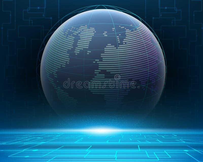 Сеть данным по bigdata мира Wireframe глобальная иллюстрация вектора