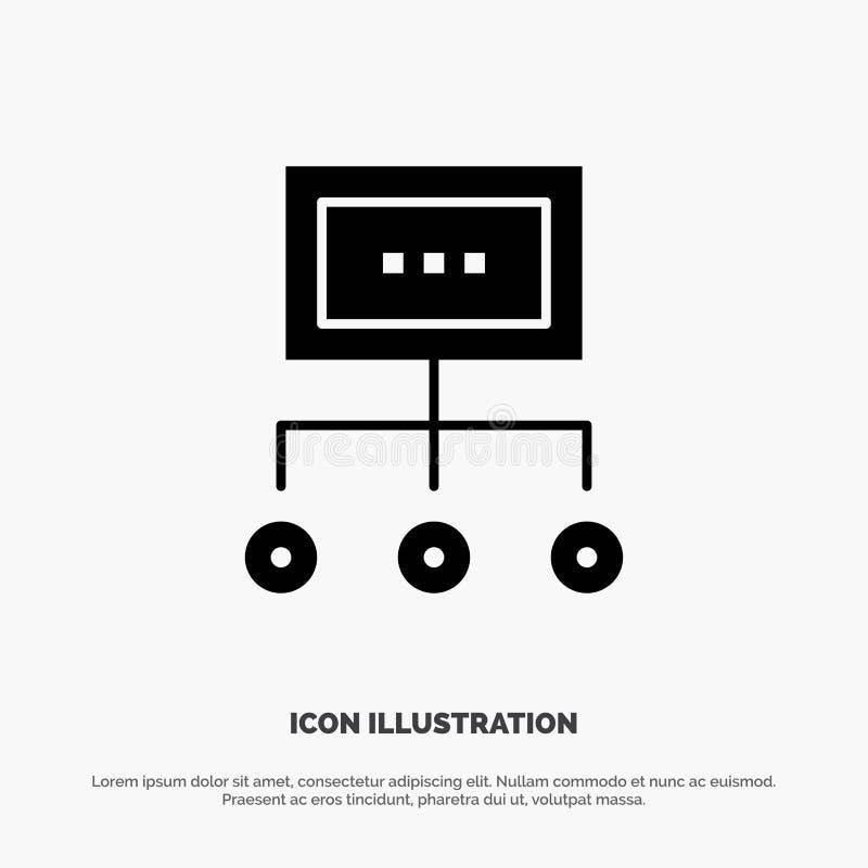 Сеть, дело, диаграмма, диаграмма, управление, организация, план, вектор значка глифа процесса твердый бесплатная иллюстрация